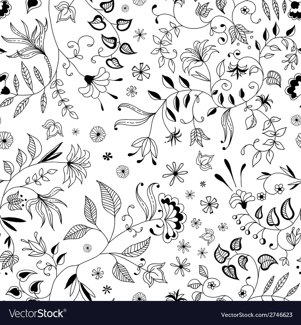 Flower seamless floral pattern or background thin vector | Price: 1 Credit (USD $1)