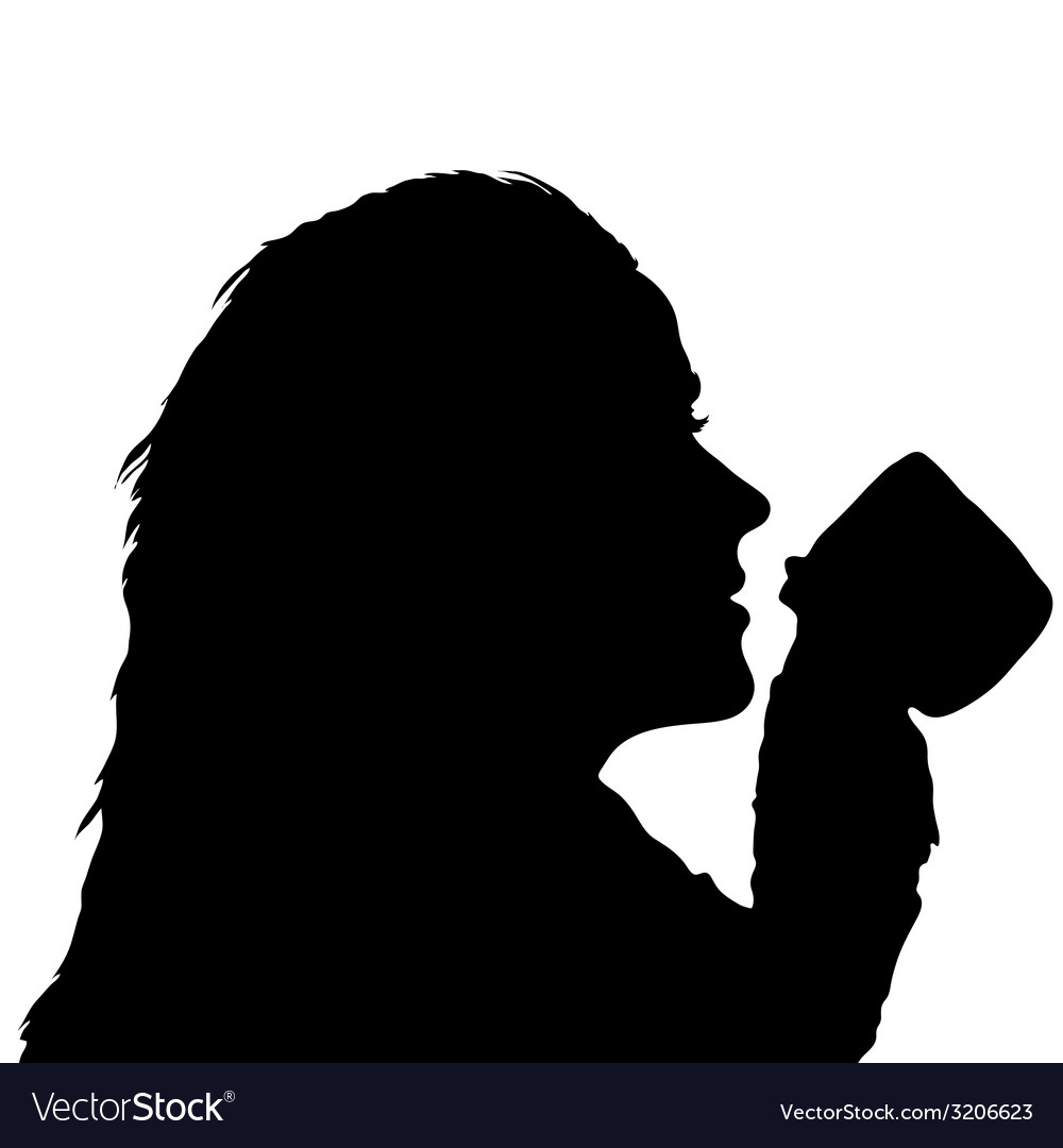 Girl holding a cup from which drinking vector | Price: 1 Credit (USD $1)