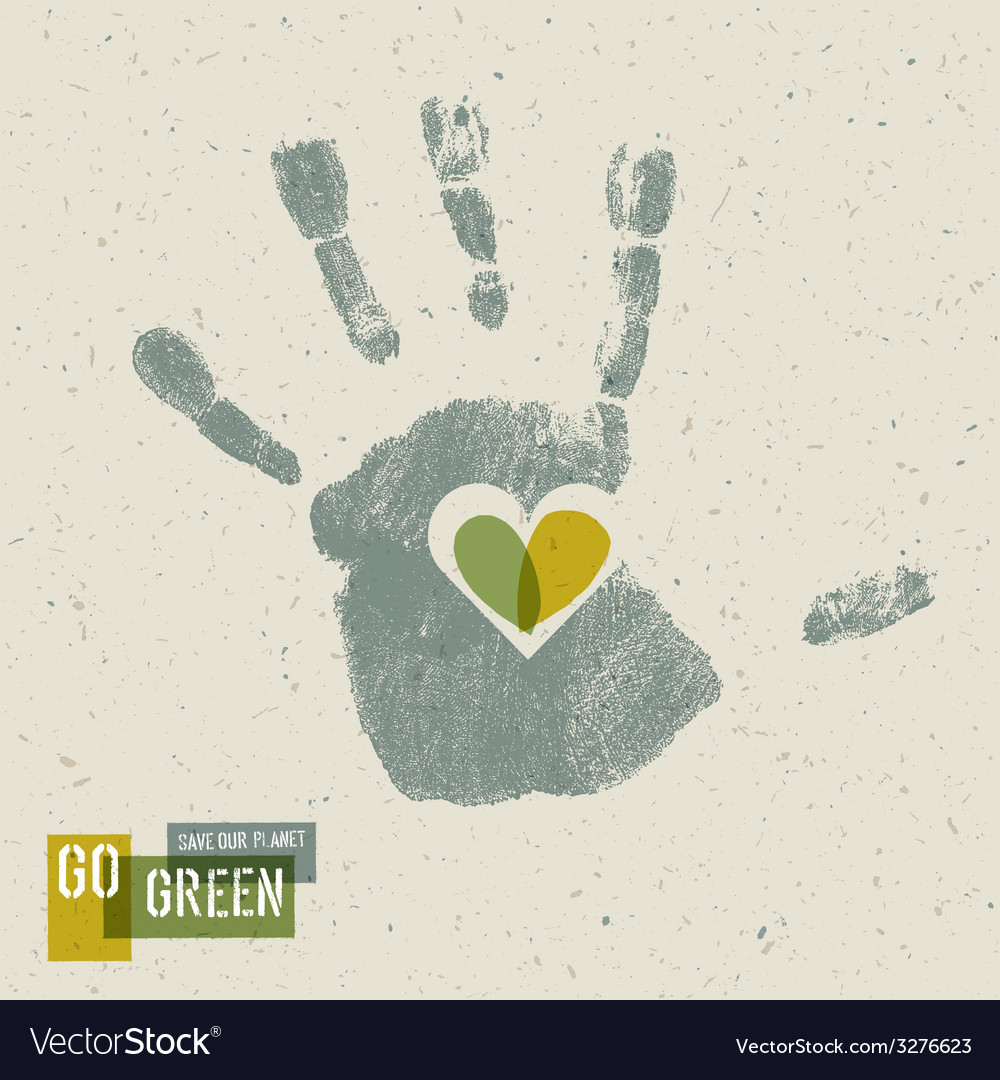 Heart in hand gogreen conceptual poster vector   Price: 1 Credit (USD $1)