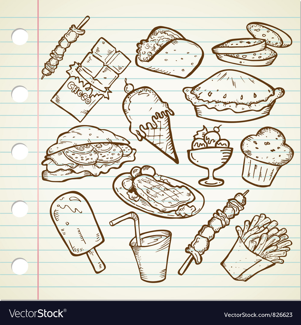 Junk foods doodle vector | Price: 1 Credit (USD $1)