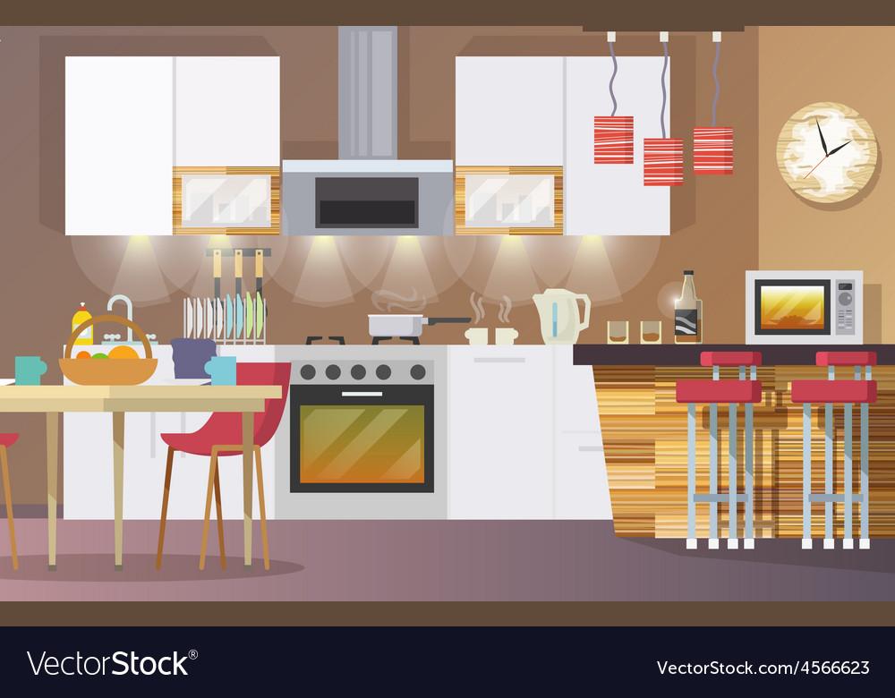 Kitchen interior flat vector   Price: 1 Credit (USD $1)