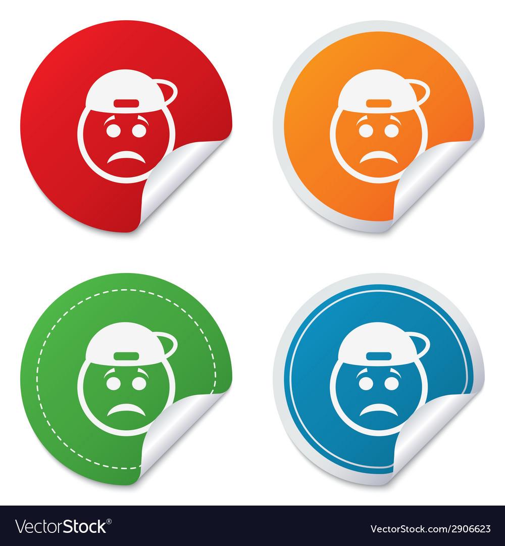 Sad rapper face sign icon sadness symbol vector | Price: 1 Credit (USD $1)