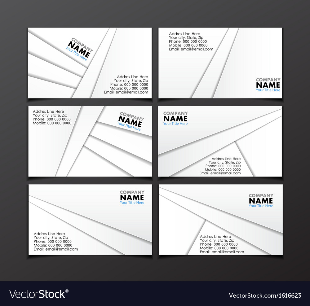 Set of six visit cards vector | Price: 1 Credit (USD $1)