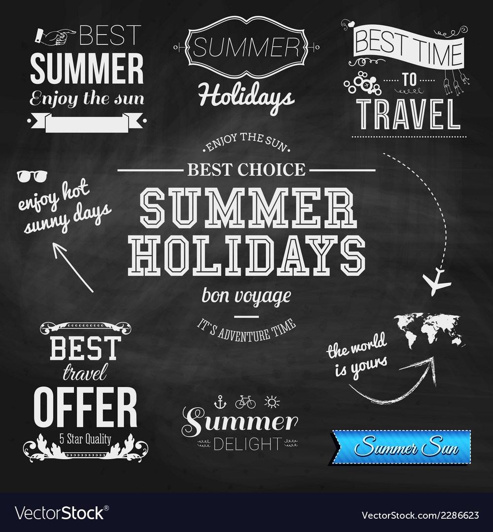 Summer design on chalkboard background set of vector | Price: 1 Credit (USD $1)