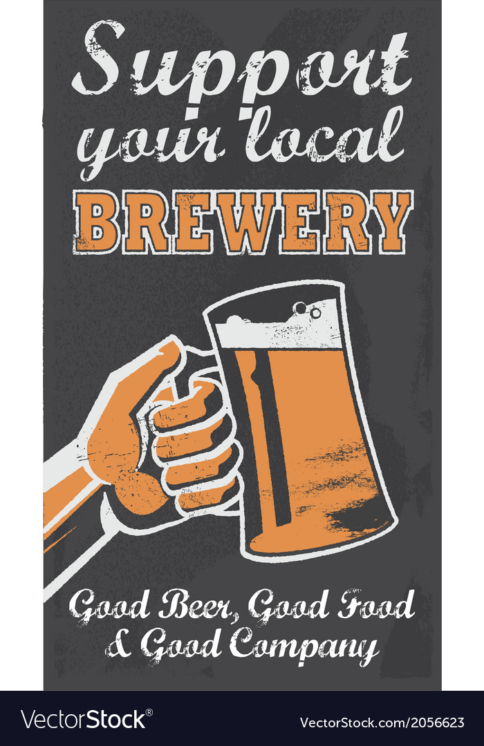 Vintage style chalkboard beer sign banner vector | Price: 3 Credit (USD $3)