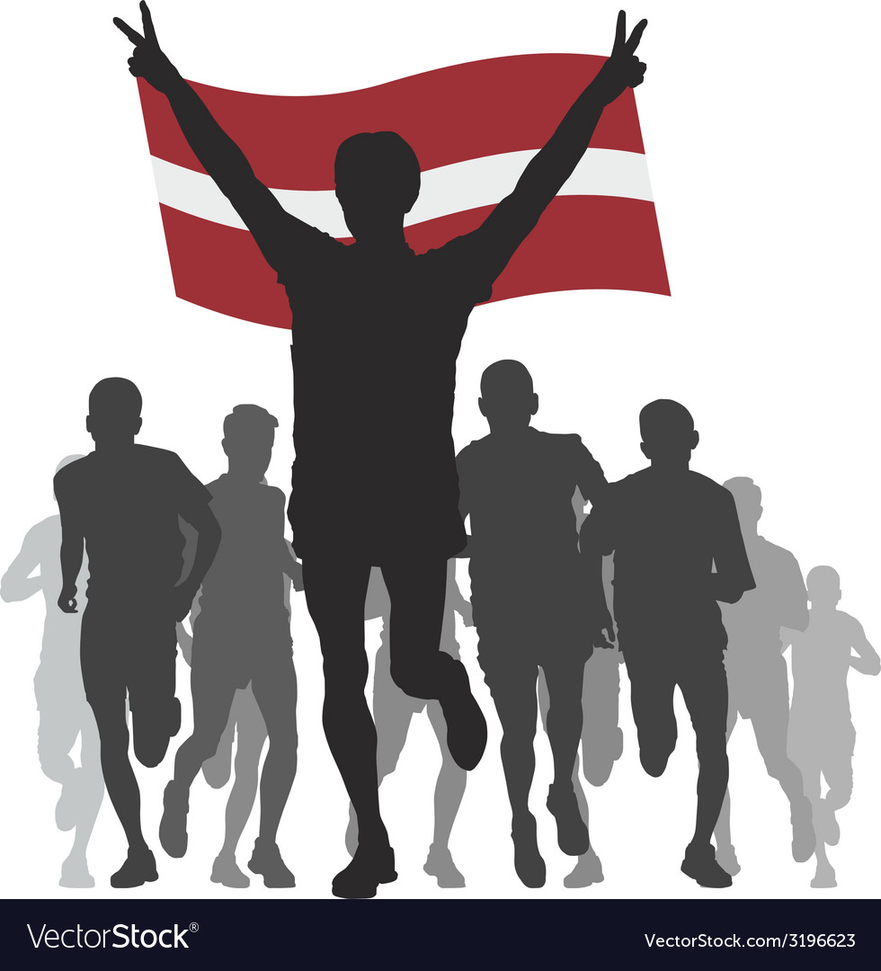 Winner with the latvia flag at the finish vector | Price: 1 Credit (USD $1)