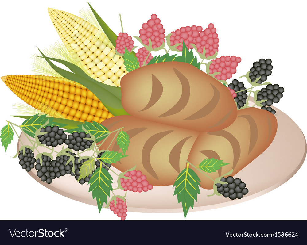 A plate of cornbread with berry fruit vector | Price: 1 Credit (USD $1)