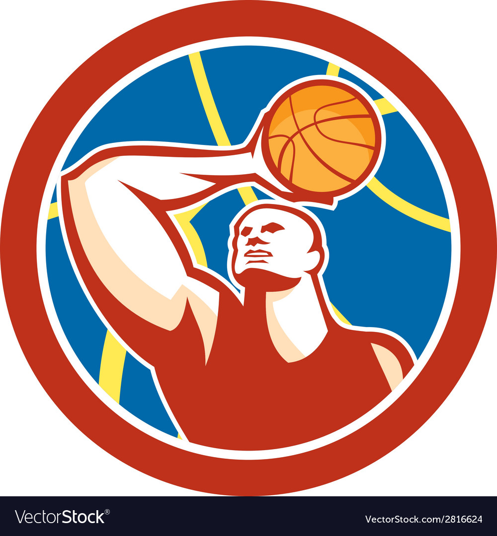Basketball player shooting ball circle retro vector | Price: 1 Credit (USD $1)