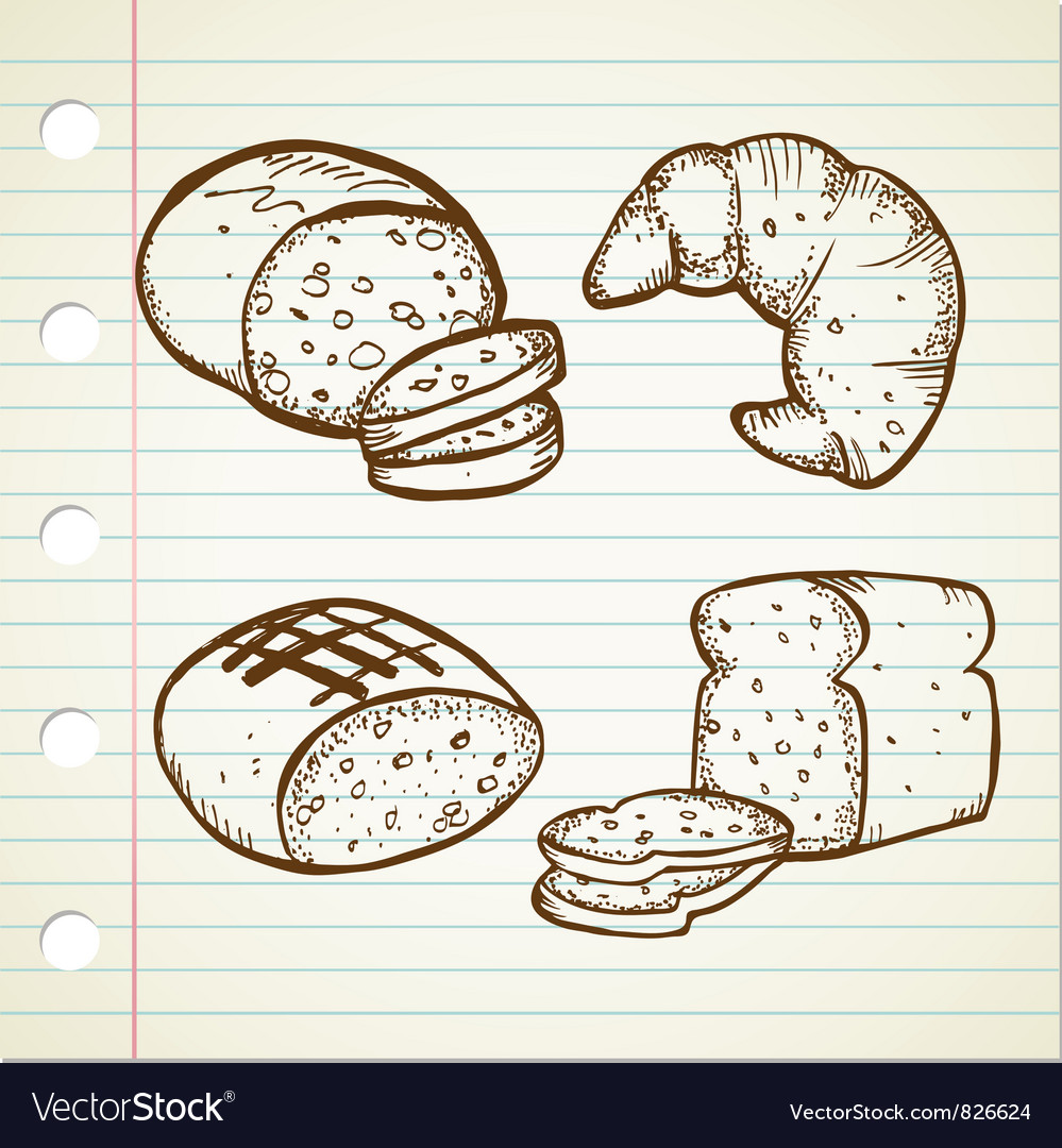 Bread doodle set vector | Price: 1 Credit (USD $1)