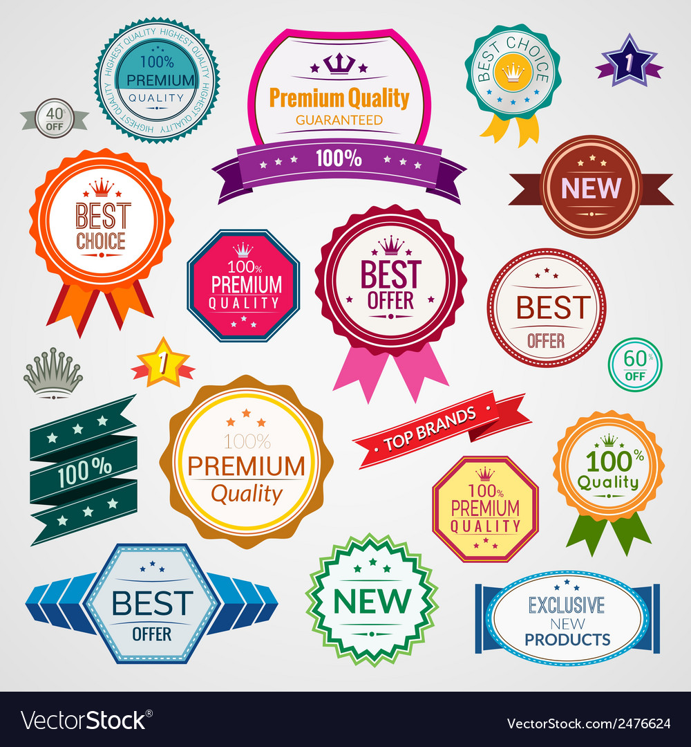 Color sale labels set vector | Price: 1 Credit (USD $1)