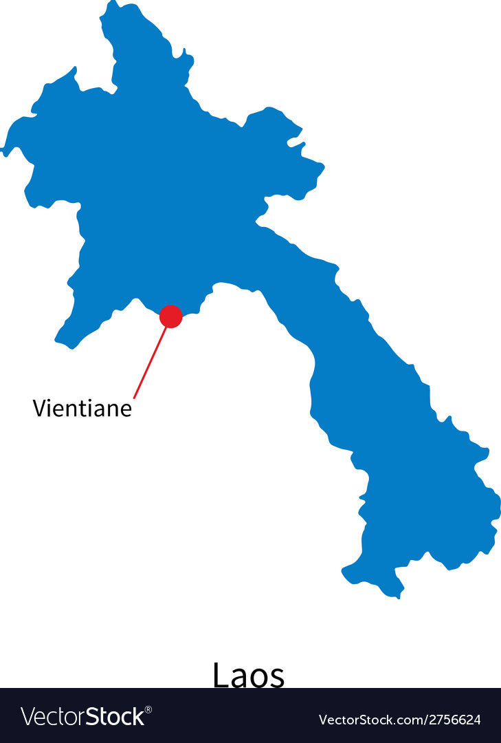 Detailed map of laos and capital city vientiane vector | Price: 1 Credit (USD $1)