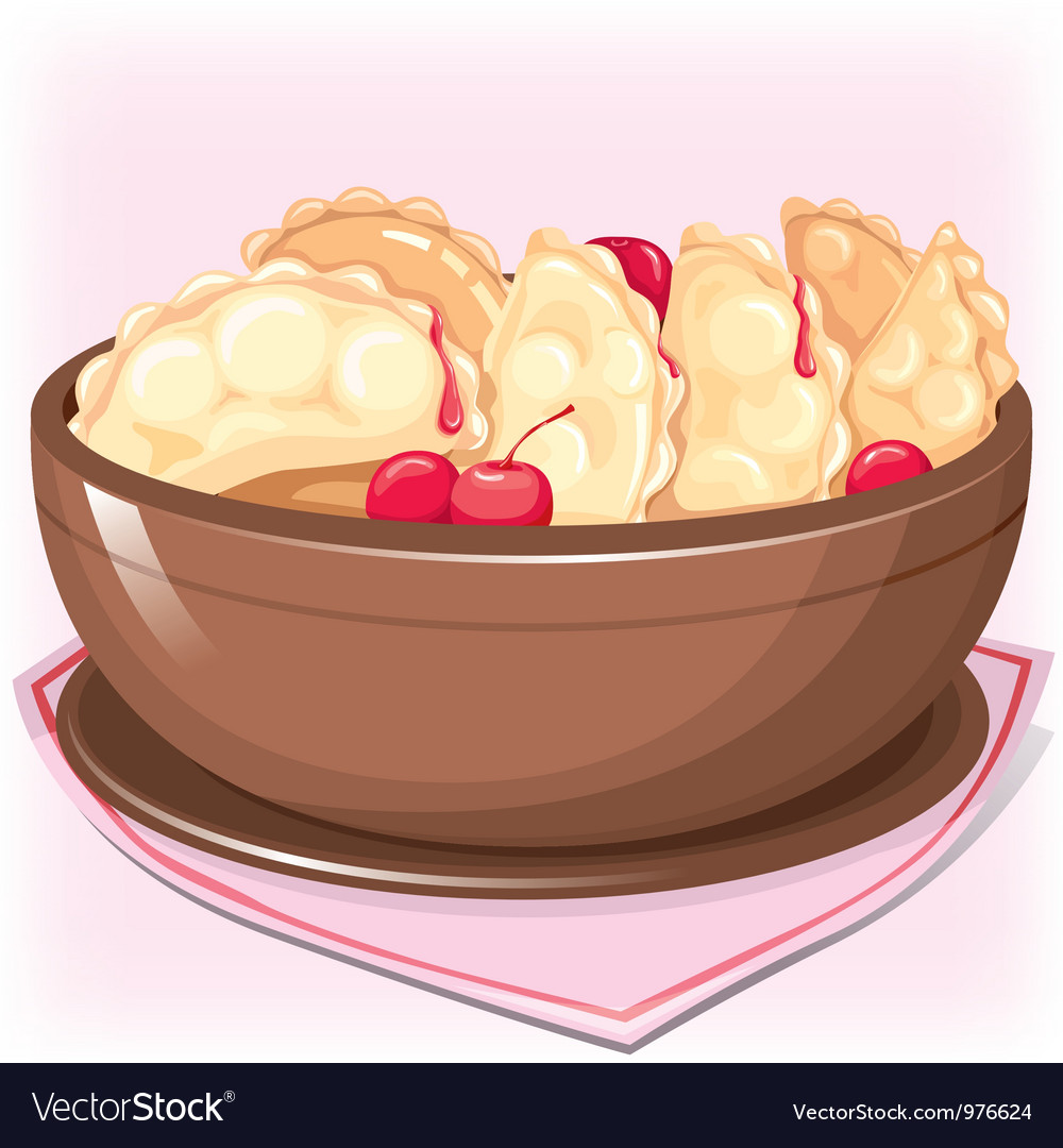 Dish with dumplings with cherry vector | Price: 3 Credit (USD $3)