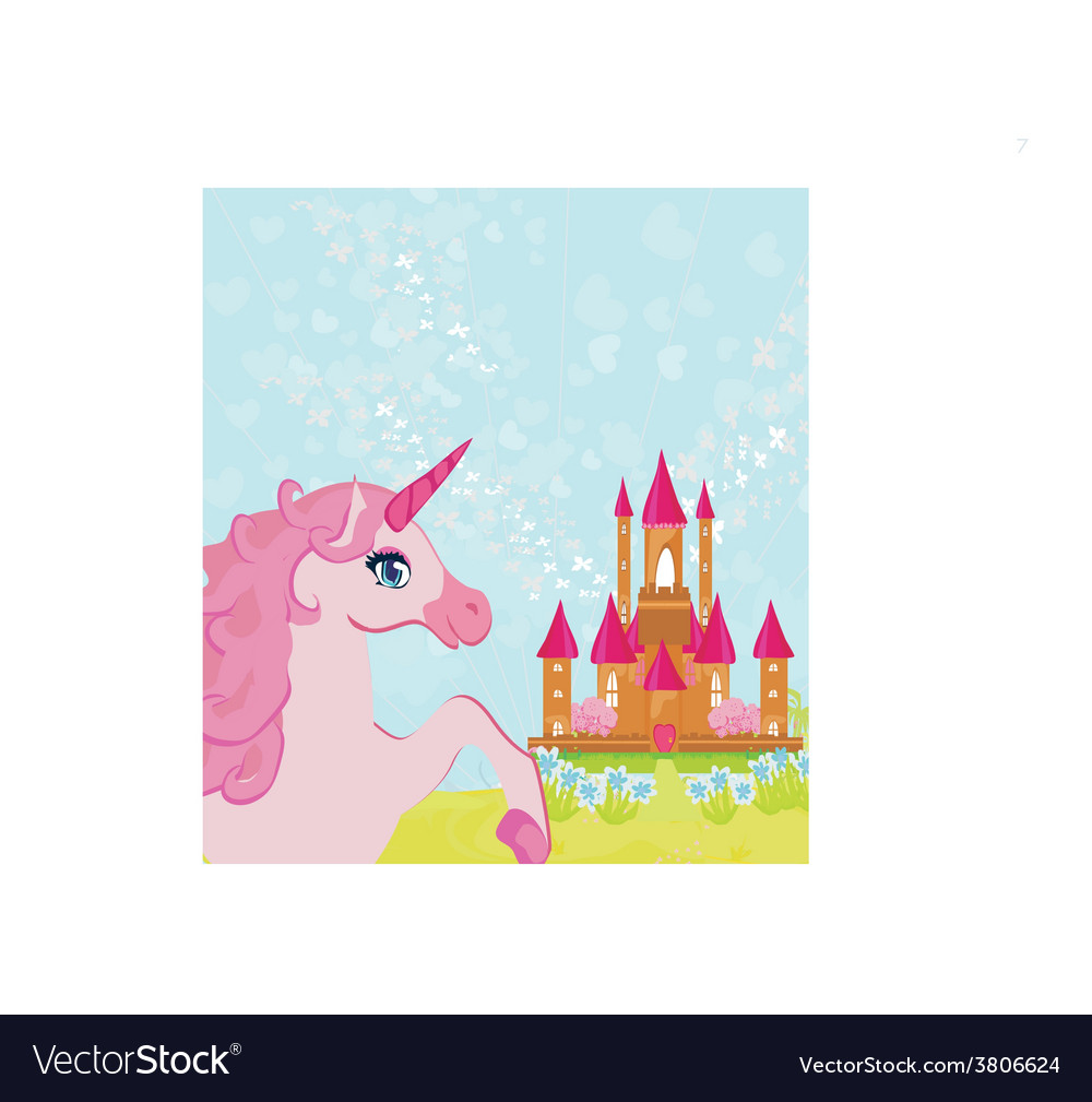 Fairytale landscape with pink magic castle and vector | Price: 1 Credit (USD $1)