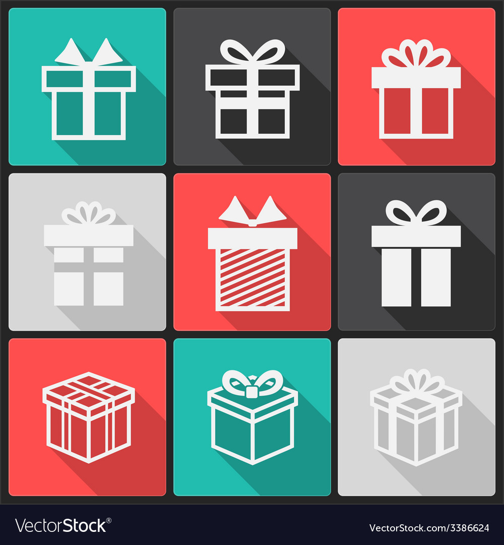 Gift box white icons vector | Price: 1 Credit (USD $1)