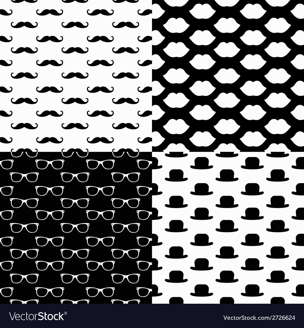Hipster seamless pattern set vector | Price: 1 Credit (USD $1)
