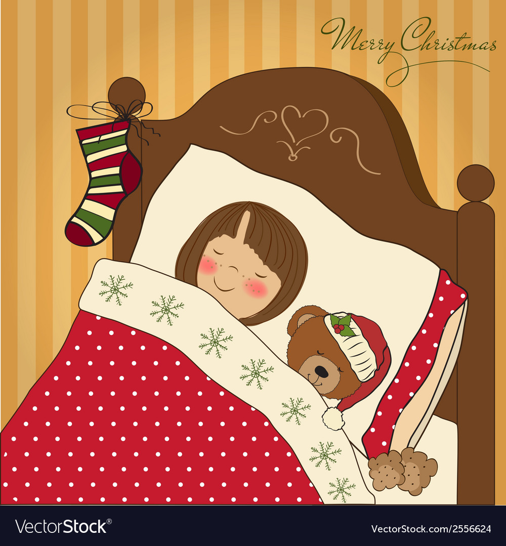 Little girl waiting for santa on christmas eve vector | Price: 1 Credit (USD $1)