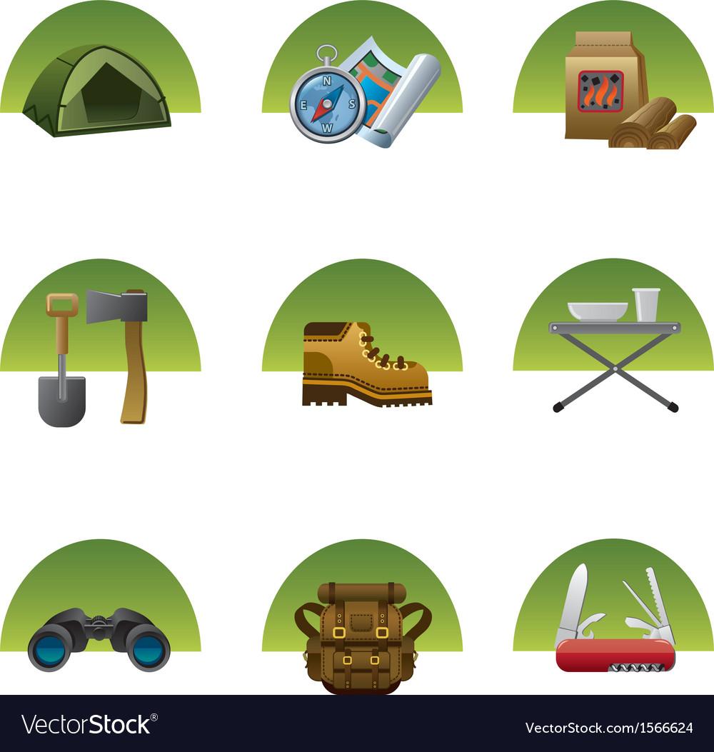 Tourism equipment icons2 vector | Price: 1 Credit (USD $1)