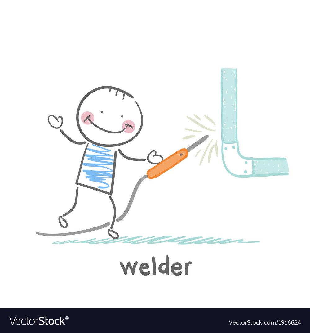 Welder near the pipe vector | Price: 1 Credit (USD $1)
