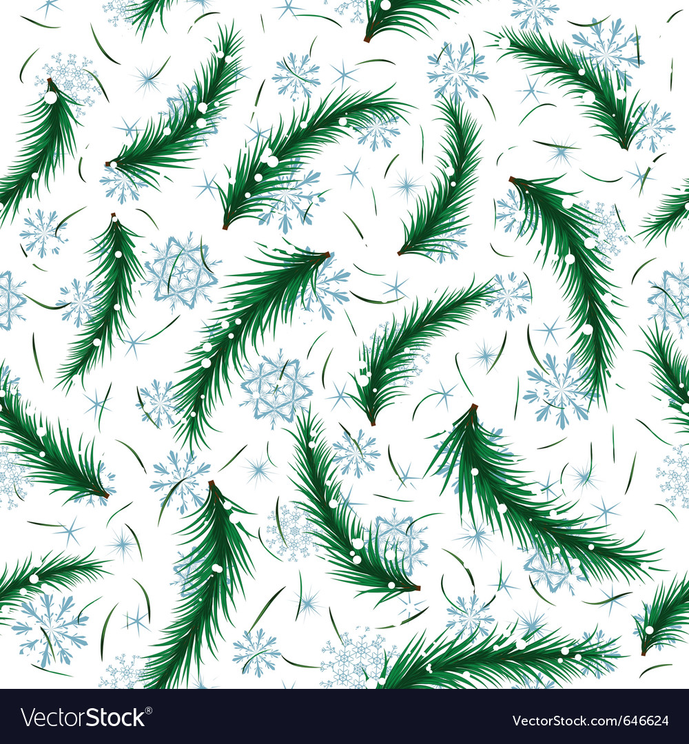Winter snowflake and fir brunch seamless vector | Price: 1 Credit (USD $1)