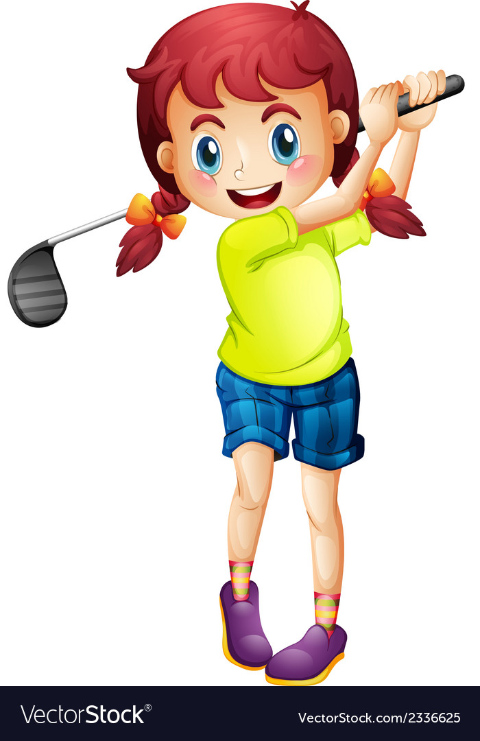 A cute little girl playing golf vector | Price: 1 Credit (USD $1)