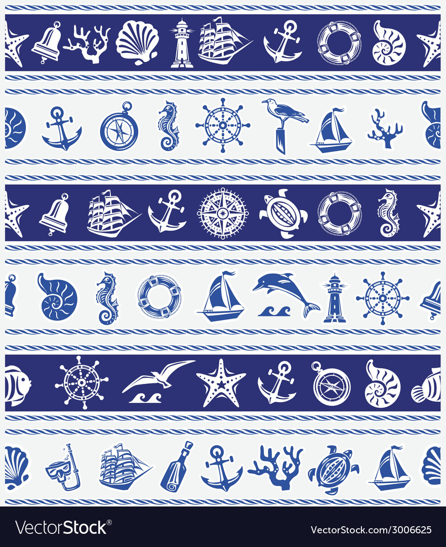 Borders with nautical and sea symbols vector | Price: 1 Credit (USD $1)