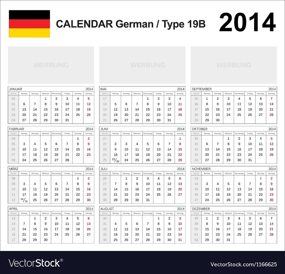 Calendar 2014 german type 19b vector   Price: 1 Credit (USD $1)