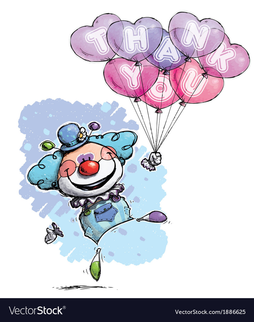 Clown with heart balloons saying thank you boy vector | Price: 3 Credit (USD $3)