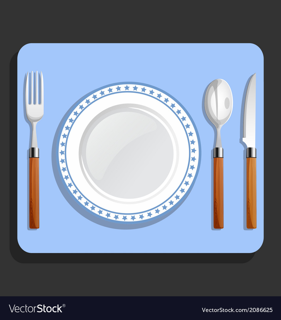 Dinner plate spoon fork and knife vector | Price: 1 Credit (USD $1)