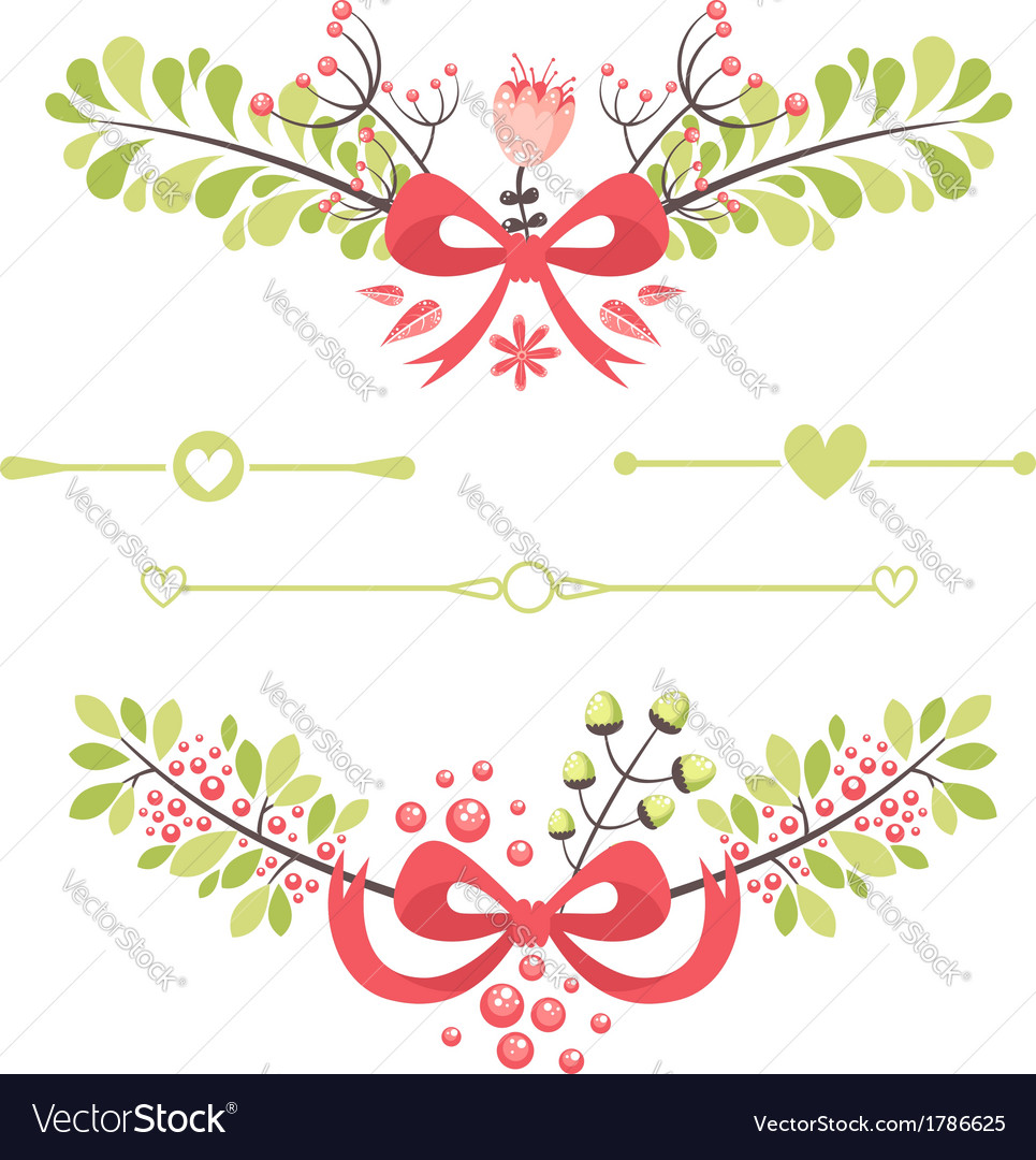 Felegant floral decorative elements vector | Price: 1 Credit (USD $1)