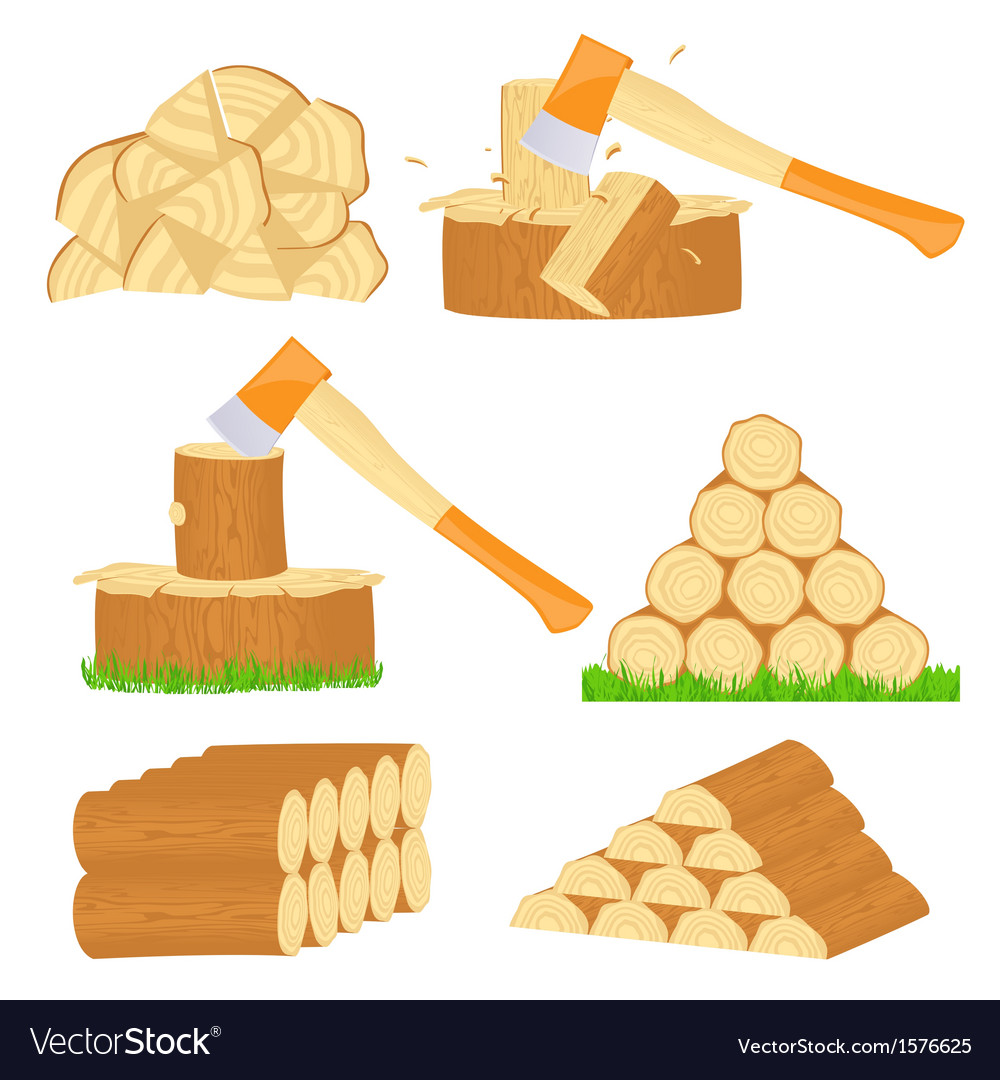 Firewood chop icons vector | Price: 1 Credit (USD $1)