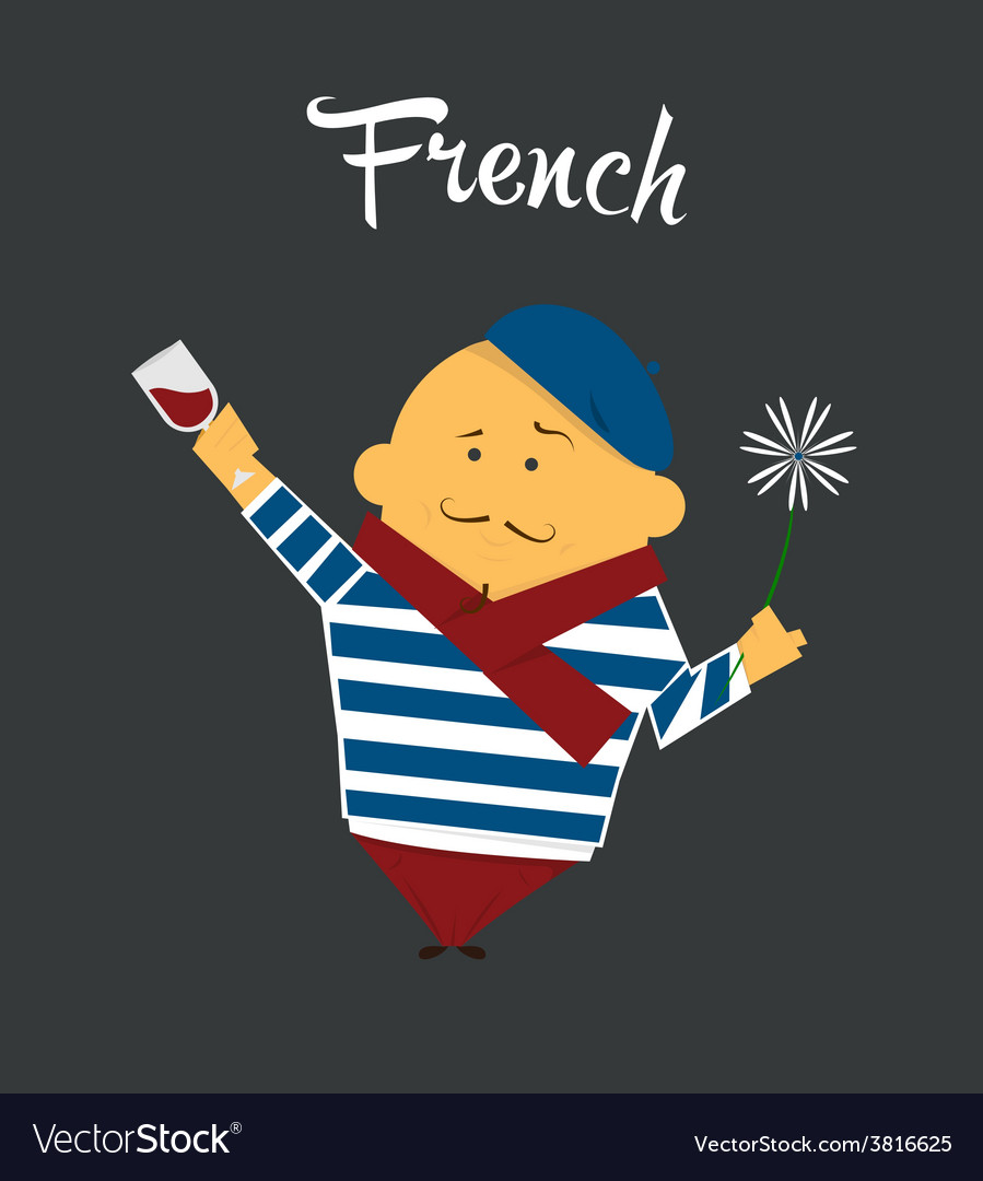 French man cartoon character citizen france in vector | Price: 1 Credit (USD $1)