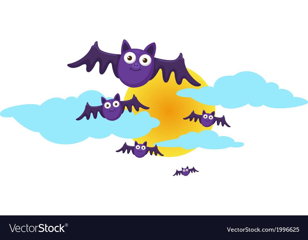 Halloween moon and bat vector | Price: 1 Credit (USD $1)