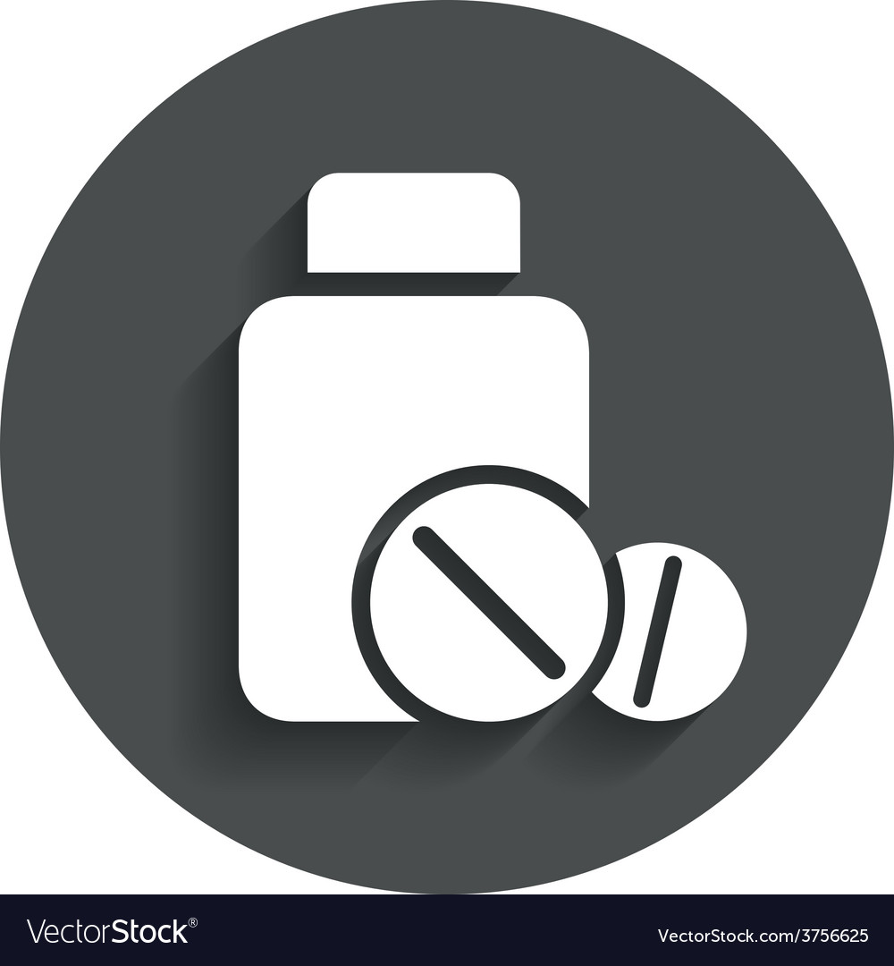 Medical tablets bottle sign icon drugs symbol vector | Price: 1 Credit (USD $1)