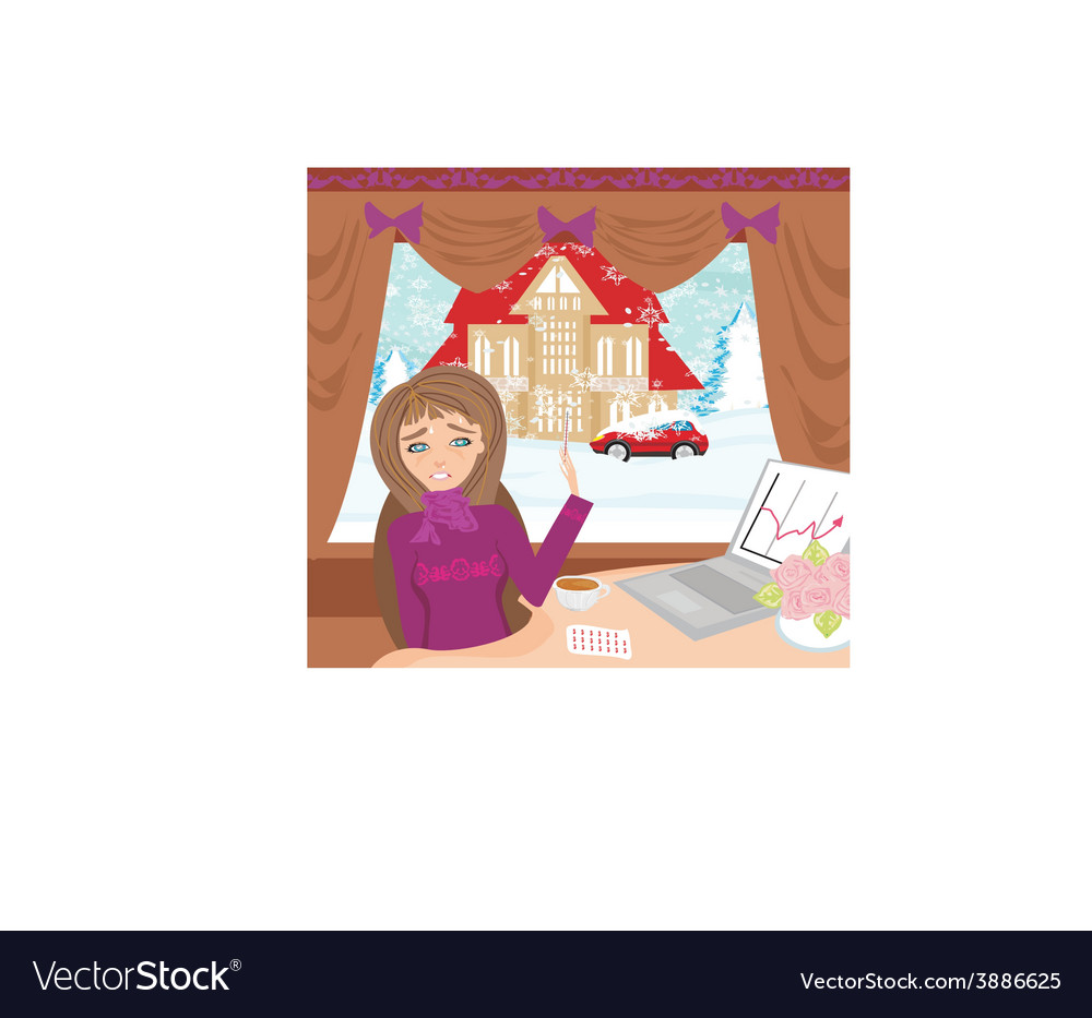 Sick secretary working at the computer vector | Price: 1 Credit (USD $1)