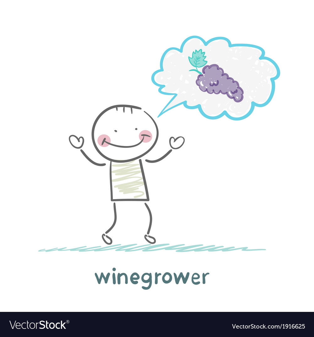 Winegrower thinks of grapes vector | Price: 1 Credit (USD $1)