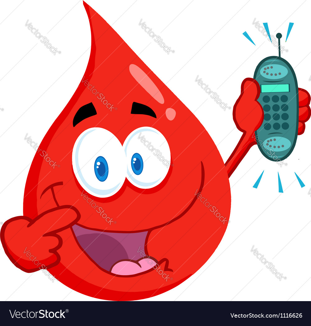 Blood guy holding a cell phone vector | Price: 1 Credit (USD $1)