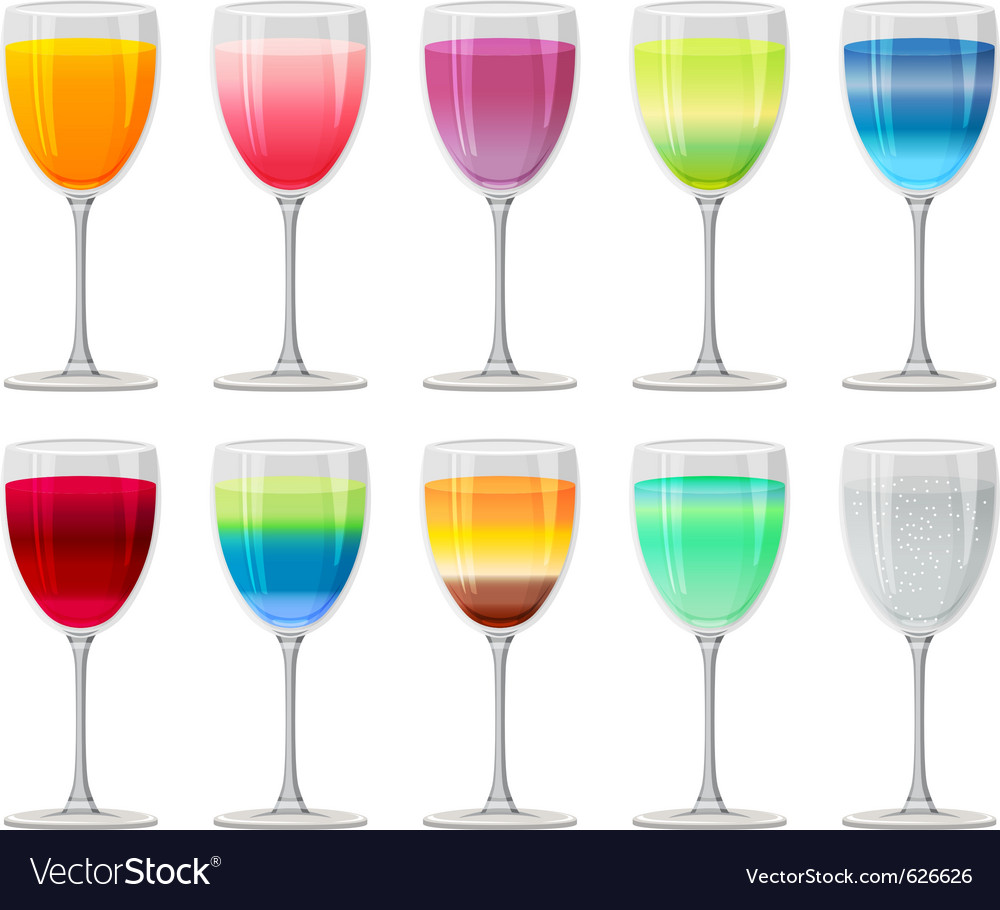 Different cocktails and juices on white vector | Price: 1 Credit (USD $1)