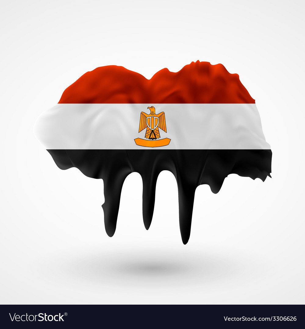 Flag of egypt painted colors vector | Price: 1 Credit (USD $1)