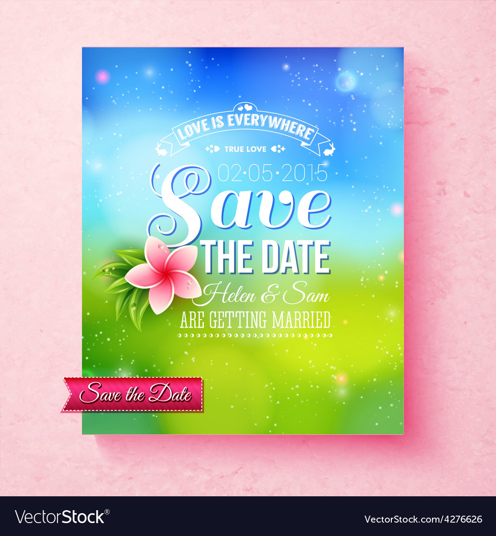 Fresh colorful spring save the date template vector | Price: 1 Credit (USD $1)