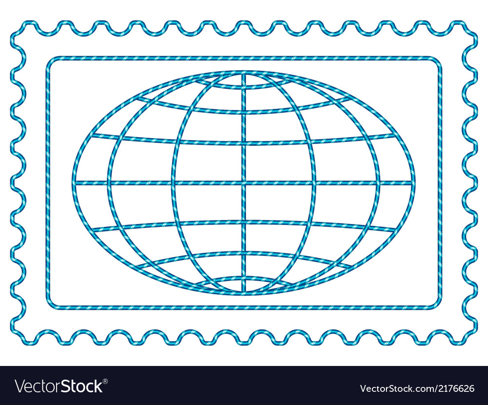 Globe on stamp vector | Price: 1 Credit (USD $1)