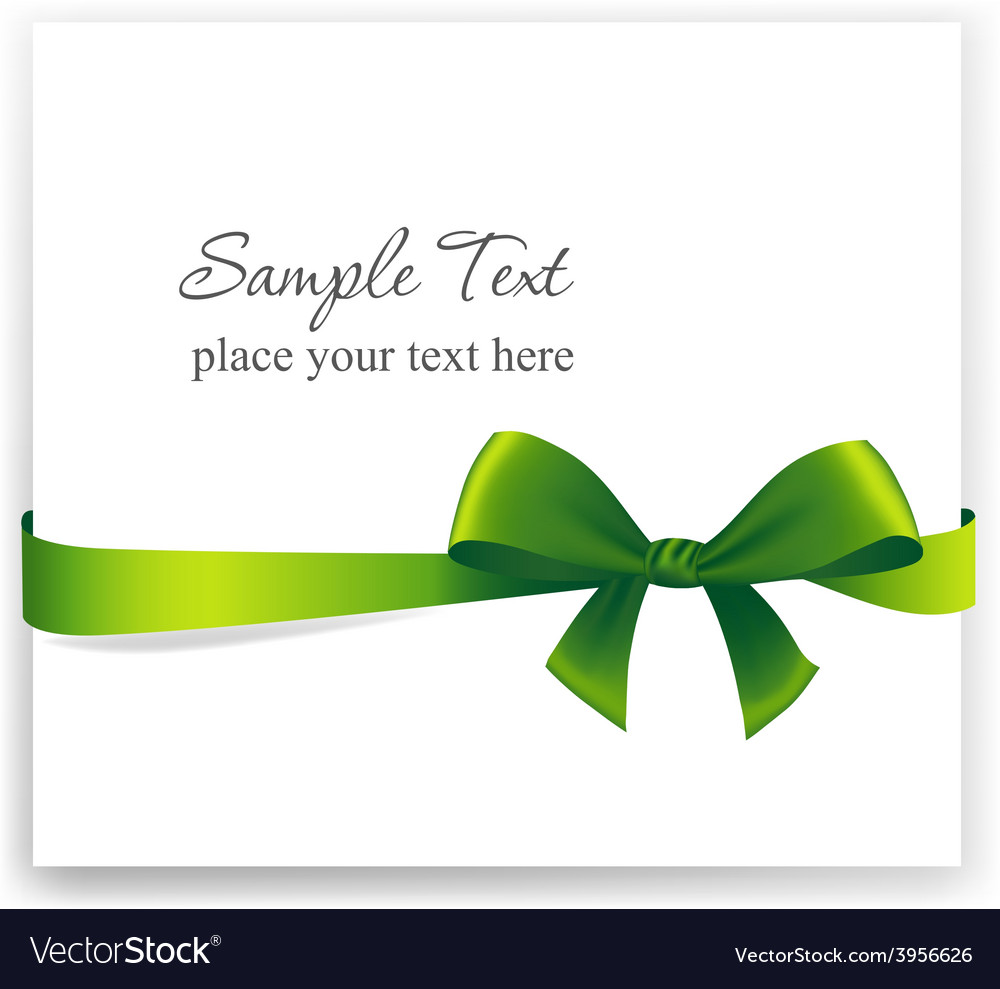 Greeting card with a green ribbon vector | Price: 1 Credit (USD $1)