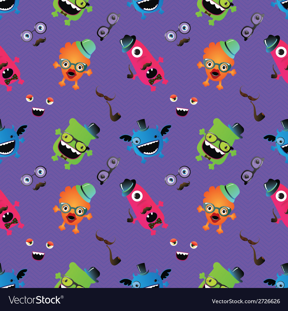 Hipster monster seamless pattern vector | Price: 1 Credit (USD $1)