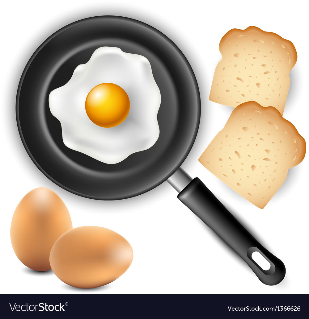 Omelet in frying pan with bread and egg vector | Price: 1 Credit (USD $1)