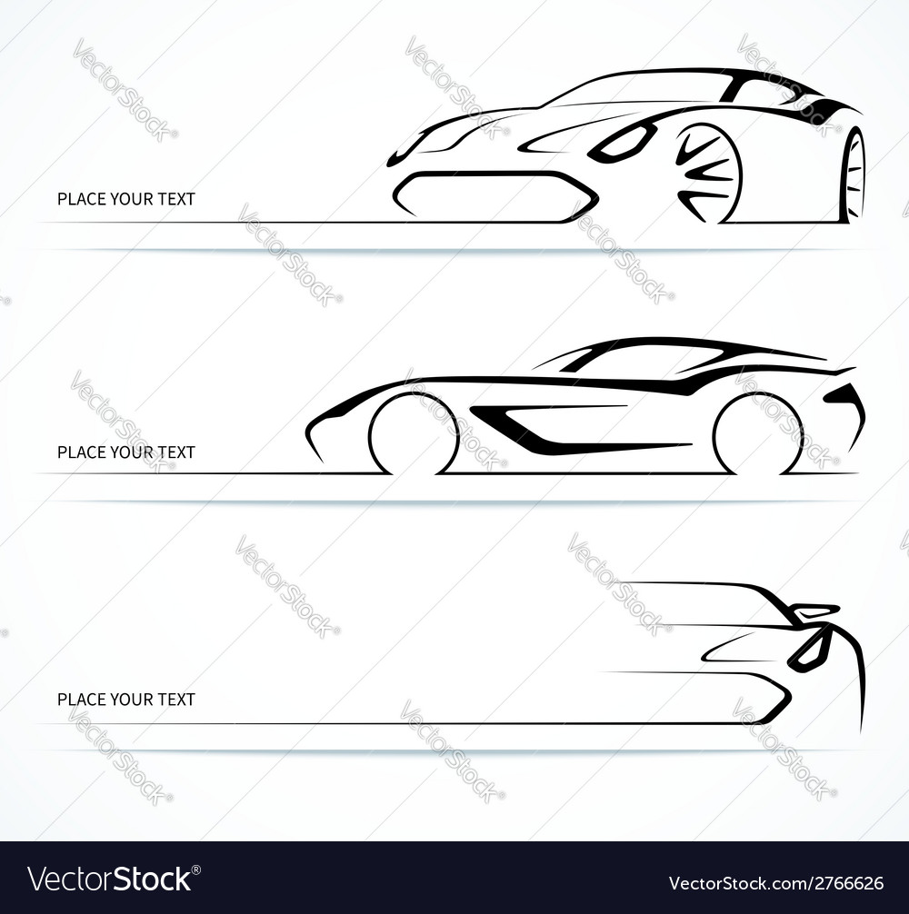 Set of abstract linear car silhouettes vector