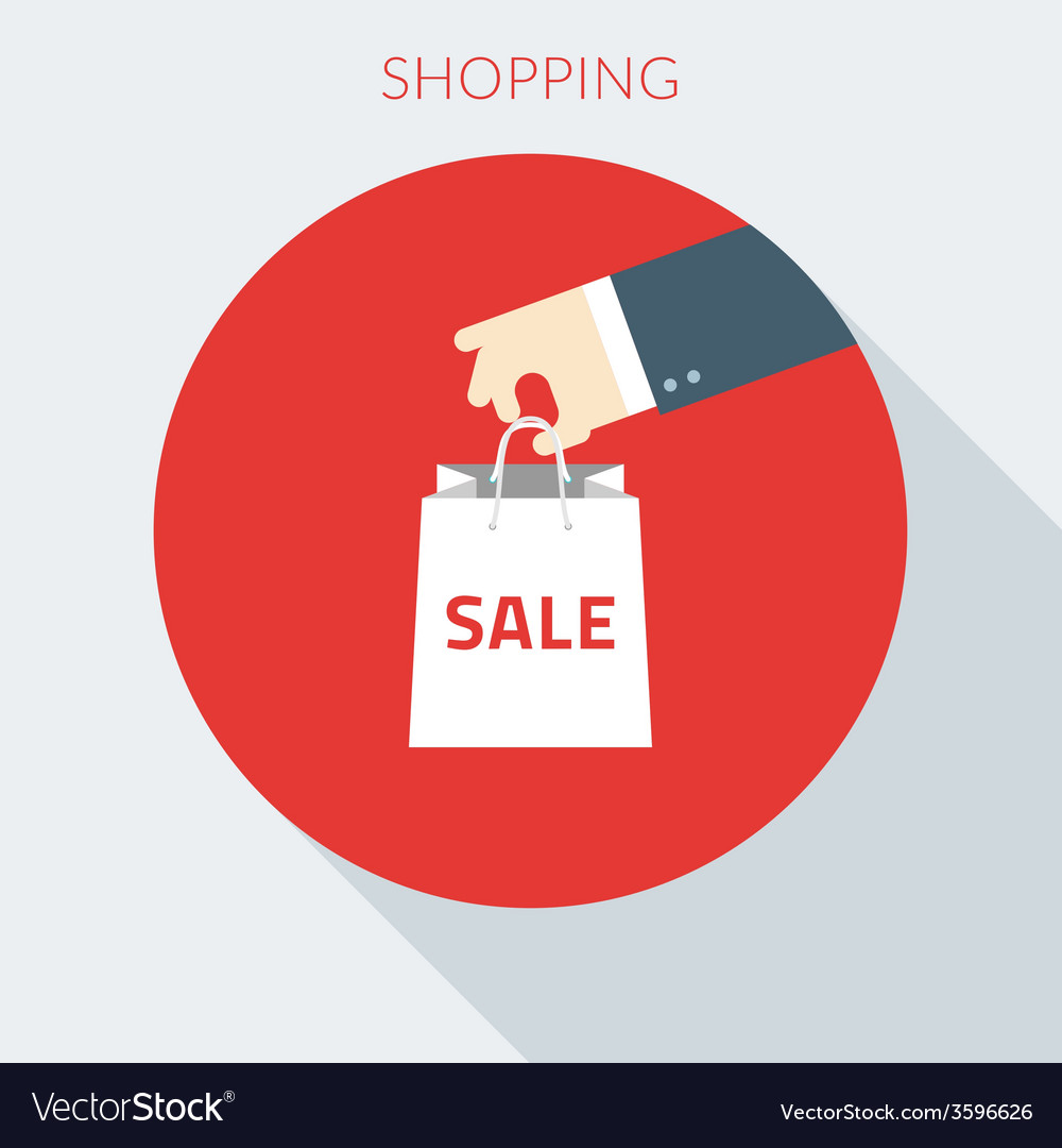 Shopping concept hand holding paper bag in vector | Price: 1 Credit (USD $1)
