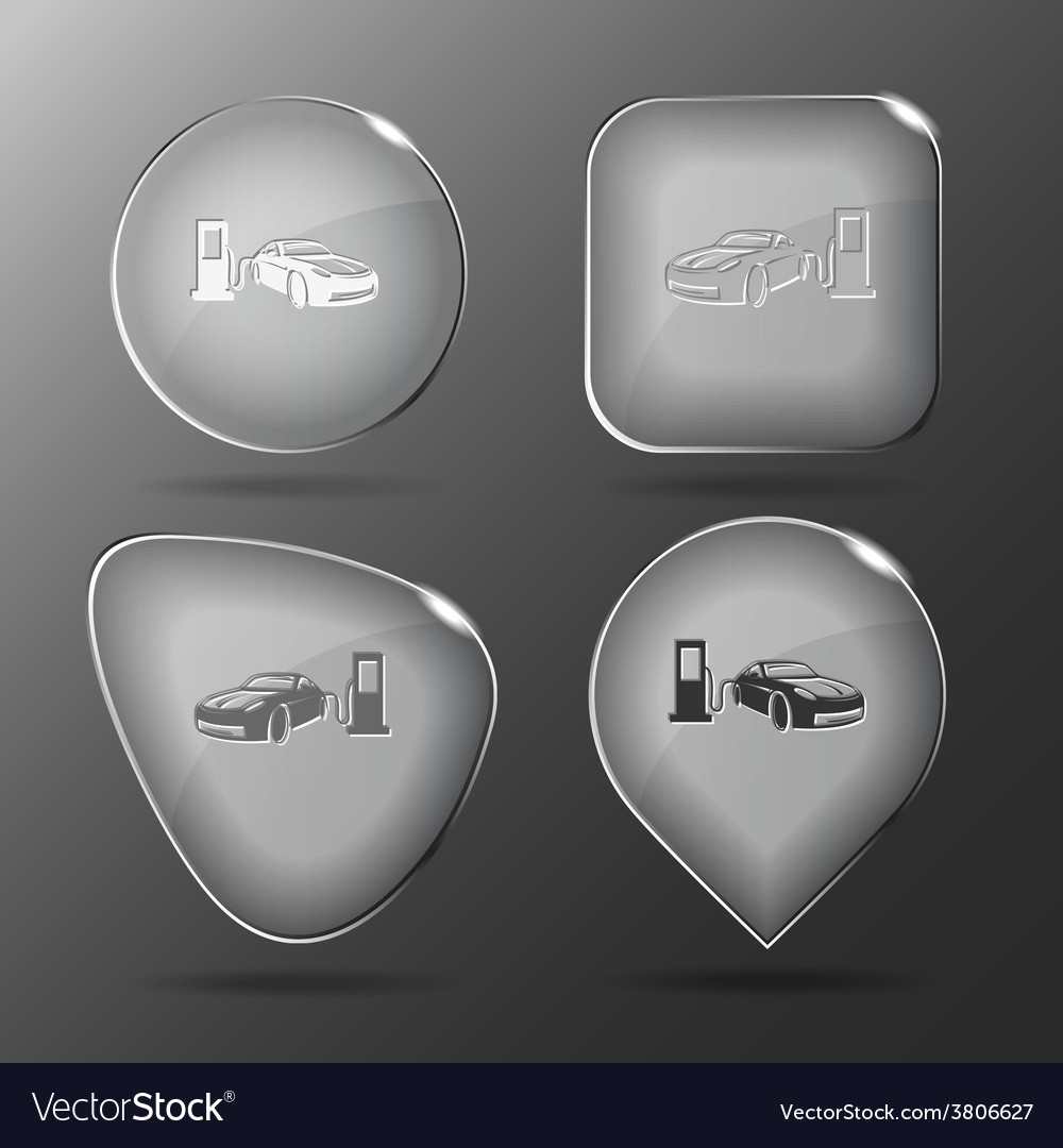 Car fueling glass buttons vector | Price: 1 Credit (USD $1)