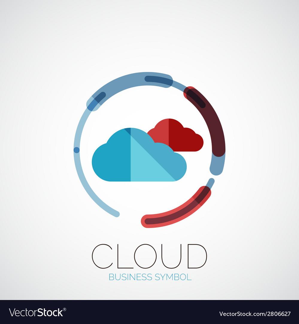 Cloud storage company logo minimal design vector | Price: 1 Credit (USD $1)