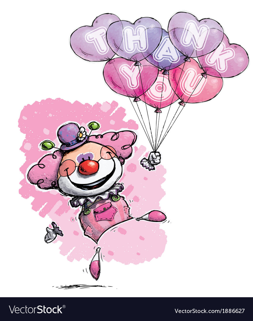 Clown with heart balloons saying thank you girl vector | Price: 3 Credit (USD $3)