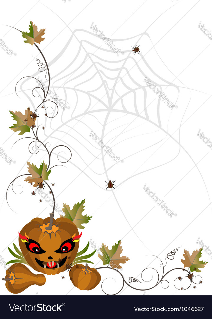 Corner of pumpkins and leaves vector | Price: 1 Credit (USD $1)