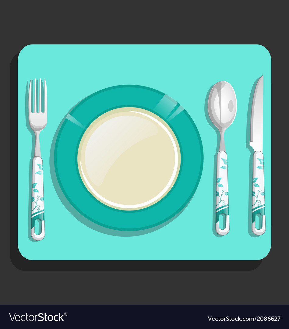 Empty plate and fork knife spoon vector | Price: 1 Credit (USD $1)